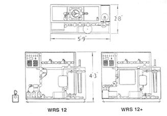 Illustration of the WRS 12 and WRS 12+ Water Recycle Systems